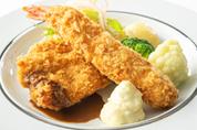 大海老とハーブ鶏(千葉県産)のミックスフライ<br> (ライスまたはパン、スープ付)